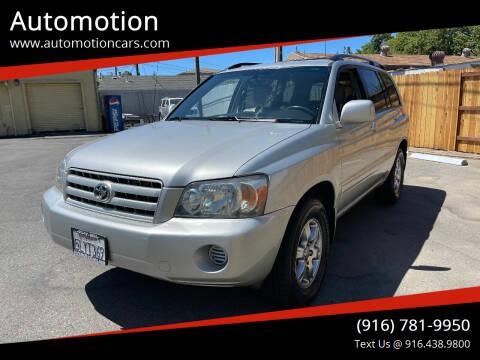 2005 Toyota Highlander for sale at Automotion in Roseville CA