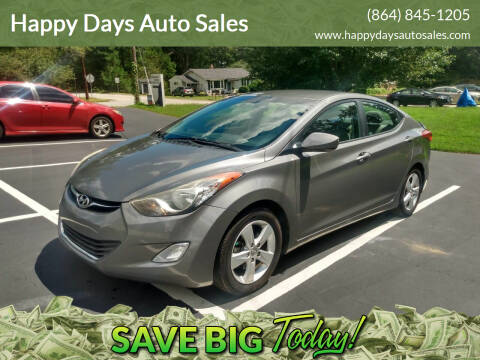 2013 Hyundai Elantra for sale at Happy Days Auto Sales in Piedmont SC