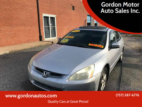 2003 Honda Accord for sale at Gordon Motor Auto Sales Inc. in Norfolk VA