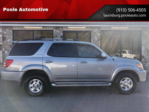2002 Toyota Sequoia for sale at Poole Automotive in Laurinburg NC