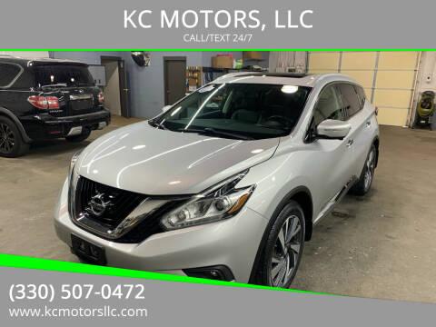 2015 Nissan Murano for sale at KC MOTORS, LLC in Boardman OH