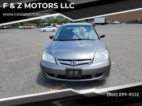 2005 Honda Civic for sale at F & Z MOTORS LLC in Waterbury CT