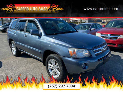 2006 Toyota Highlander Hybrid for sale at Carpro Auto Sales in Chesapeake VA