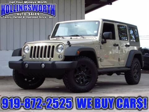2017 Jeep Wrangler Unlimited for sale at Hollingsworth Auto Sales in Raleigh NC