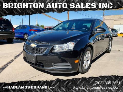 2012 Chevrolet Cruze for sale at BRIGHTON AUTO SALES INC in Brighton CO