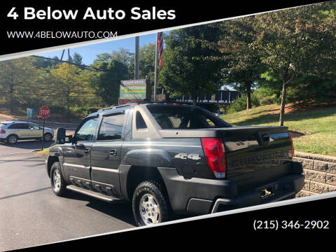 2004 Chevrolet Avalanche for sale at 4 Below Auto Sales in Willow Grove PA