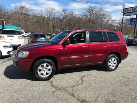 2004 Toyota Highlander for sale at M G Motors in Johnston RI