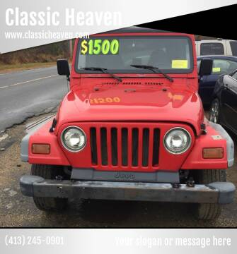 1997 Jeep Wrangler for sale at Classic Heaven Used Cars & Service in Brimfield MA