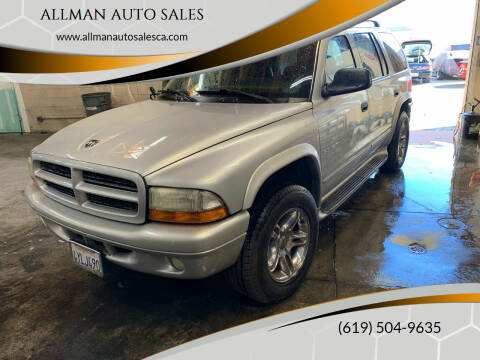 2002 Dodge Durango for sale at ALLMAN AUTO SALES in San Diego CA