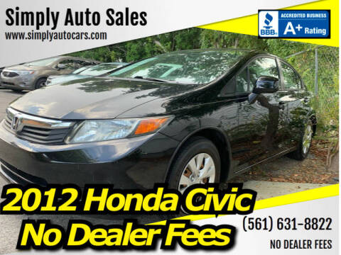 2012 Honda Civic for sale at Simply Auto Sales in Palm Beach Gardens FL