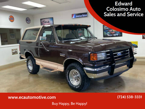 1991 Ford Bronco for sale at Edward Colosimo Auto Sales and Service in Evans City PA