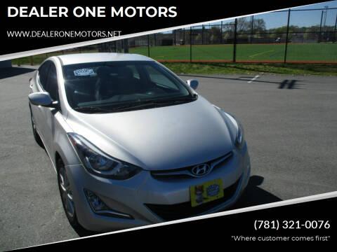2015 Hyundai Elantra for sale at DEALER ONE MOTORS in Malden MA