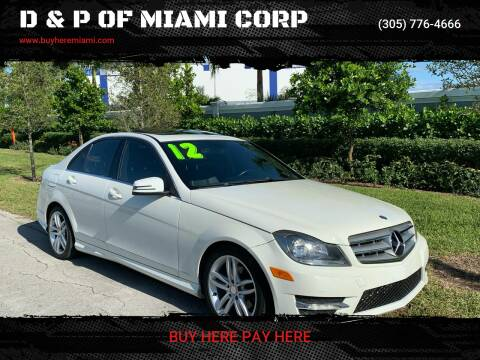 2012 Mercedes-Benz C-Class for sale at D & P OF MIAMI CORP in Miami FL