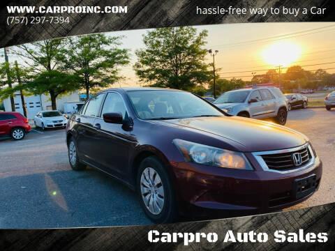 2010 Honda Accord for sale at Carpro Auto Sales in Chesapeake VA