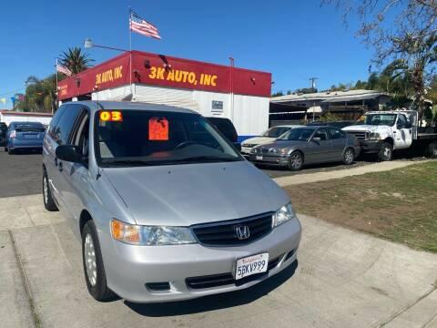 2003 Honda Odyssey for sale at 3K Auto in Escondido CA