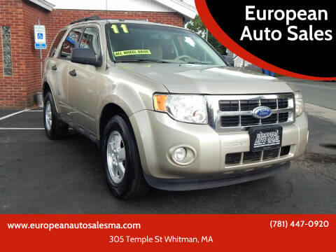 2011 Ford Escape for sale at European Auto Sales in Whitman MA