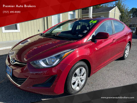 2016 Hyundai Elantra for sale at Premier Auto Brokers in Virginia Beach VA