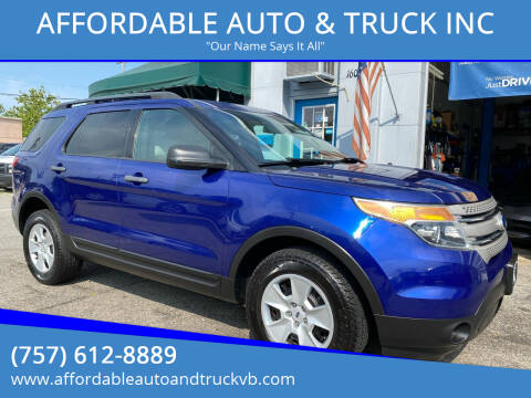 2013 Ford Explorer for sale at AFFORDABLE AUTO & TRUCK INC in Virginia Beach VA