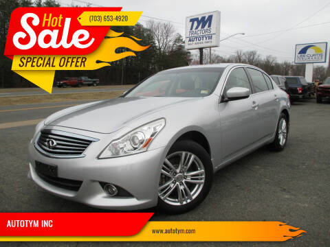 2013 Infiniti G37 Sedan for sale at AUTOTYM INC in Fredericksburg VA