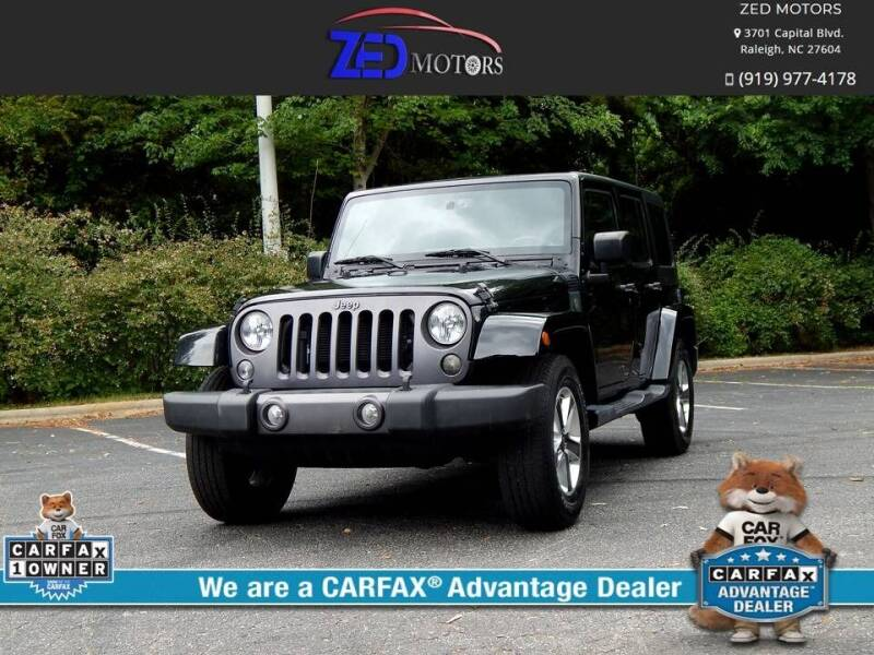 2016 Jeep Wrangler Unlimited for sale at Zed Motors in Raleigh NC