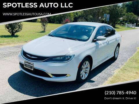 2015 Chrysler 200 for sale at SPOTLESS AUTO LLC in San Antonio TX