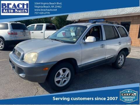 2004 Hyundai Santa Fe for sale at Beach Auto Sales in Virginia Beach VA