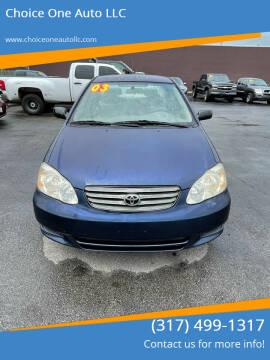 2003 Toyota Corolla for sale at Choice One Auto LLC in Beech Grove IN