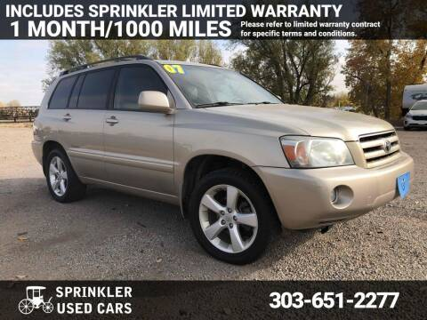2007 Toyota Highlander for sale at Sprinkler Used Cars in Longmont CO