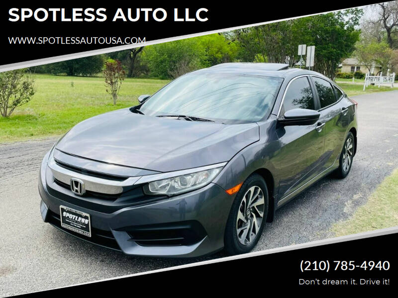 2016 Honda Civic for sale at SPOTLESS AUTO LLC in San Antonio TX