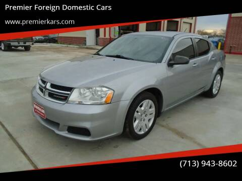 2014 Dodge Avenger for sale at Premier Foreign Domestic Cars in Houston TX