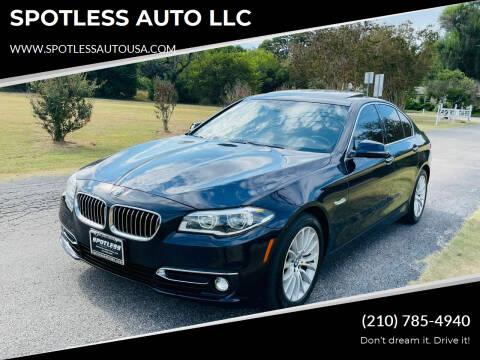 2014 BMW 5 Series for sale at SPOTLESS AUTO LLC in San Antonio TX