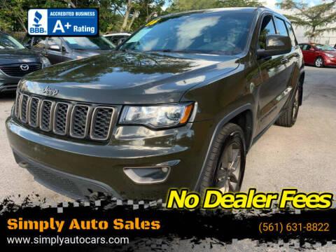 2016 Jeep Grand Cherokee for sale at Simply Auto Sales in Palm Beach Gardens FL