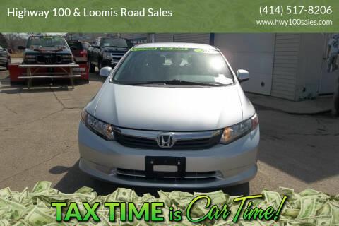 2012 Honda Civic for sale at Highway 100 & Loomis Road Sales in Franklin WI