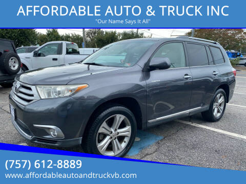 2011 Toyota Highlander for sale at AFFORDABLE AUTO & TRUCK INC in Virginia Beach VA