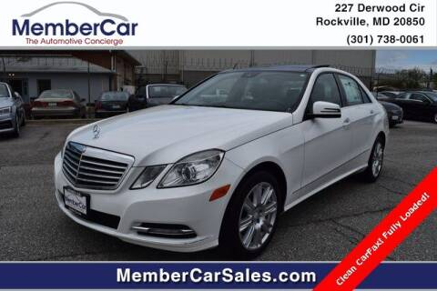 2013 Mercedes-Benz E-Class for sale at MemberCar in Rockville MD
