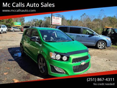 2015 Chevrolet Sonic for sale at Mc Calls Auto Sales in Brewton AL