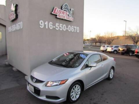 2012 Honda Civic for sale at LIONS AUTO SALES in Sacramento CA