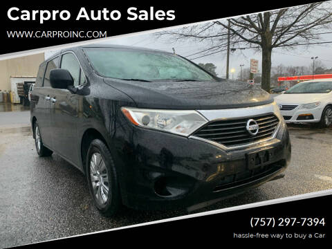 2012 Nissan Quest for sale at Carpro Auto Sales in Chesapeake VA