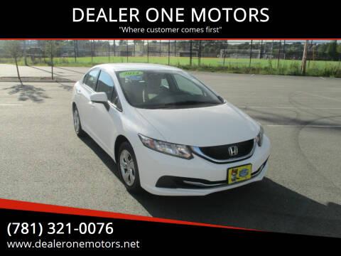 2014 Honda Civic for sale at DEALER ONE MOTORS in Malden MA