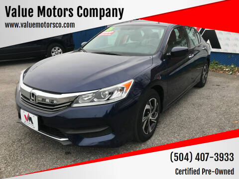 2016 Honda Accord for sale at Value Motors Company in Marrero LA