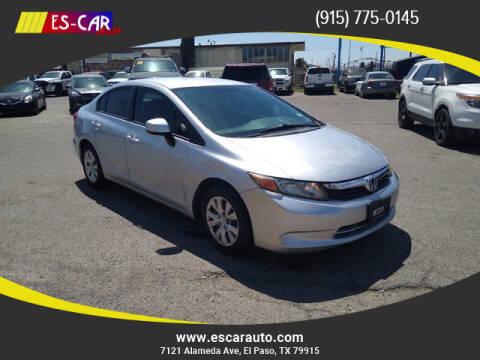 2012 Honda Civic for sale at Escar Auto - 9809 Montana Ave Lot in El Paso TX