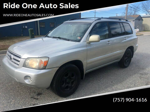 2004 Toyota Highlander for sale at Ride One Auto Sales in Norfolk VA
