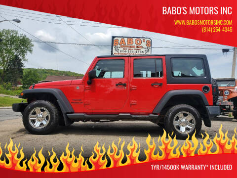 2015 Jeep Wrangler Unlimited for sale at BABO'S MOTORS INC in Johnstown PA