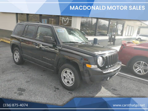 2015 Jeep Patriot for sale at MacDonald Motor Sales in High Point NC