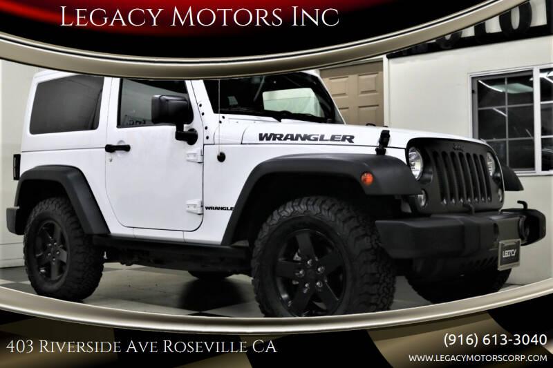 2017 Jeep Wrangler for sale at Legacy Motors Inc in Roseville CA