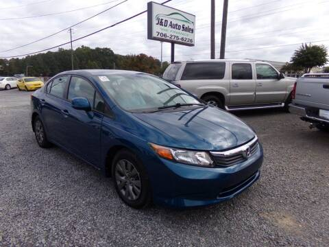 2012 Honda Civic for sale at J & D Auto Sales in Dalton GA