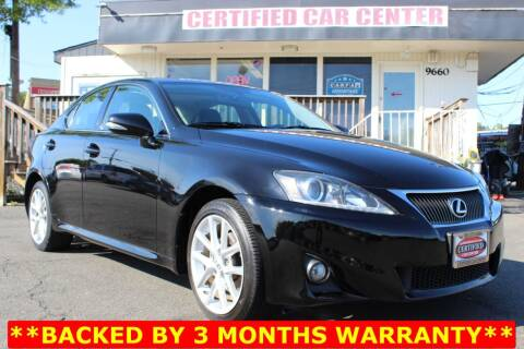2013 Lexus IS 250 for sale at CERTIFIED CAR CENTER in Fairfax VA