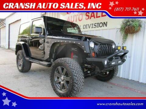 2012 Jeep Wrangler for sale at CRANSH AUTO SALES, INC in Arlington TX