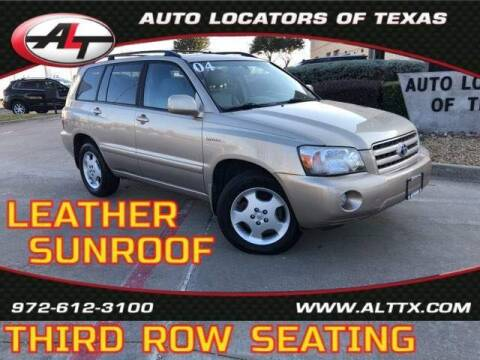 2004 Toyota Highlander for sale at AUTO LOCATORS OF TEXAS in Plano TX