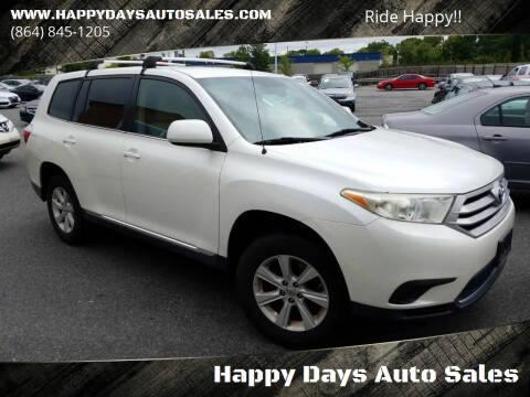 2012 Toyota Highlander for sale at Happy Days Auto Sales in Piedmont SC